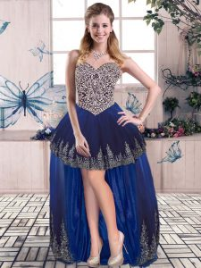 Elegant Royal Blue Prom Dresses Prom and Party with Beading and Embroidery Sweetheart Sleeveless Lace Up