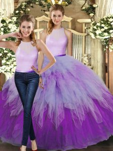 High Quality Two Pieces Quinceanera Dresses Multi-color High-neck Organza Sleeveless Floor Length Backless