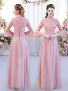 Captivating Pink Zipper Quinceanera Dama Dress Lace 3 4 Length Sleeve Floor Length
