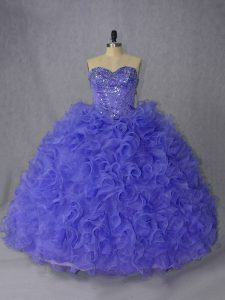 Fine Lace Up Quinceanera Dress Lavender and Purple for Sweet 16 and Quinceanera with Beading Brush Train