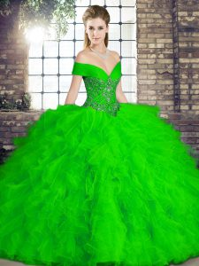 Cheap Beading and Ruffles Ball Gown Prom Dress Green Lace Up Sleeveless Floor Length