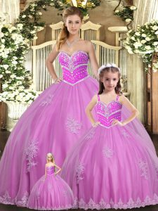 Glorious Lilac 15 Quinceanera Dress Sweet 16 and Quinceanera with Beading and Appliques Sweetheart Sleeveless Lace Up
