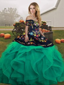 Exquisite Turquoise Lace Up Off The Shoulder Embroidery and Ruffles 15 Quinceanera Dress Tulle Sleeveless