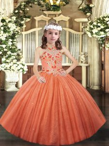 Customized Halter Top Sleeveless Tulle Little Girl Pageant Gowns Appliques Lace Up
