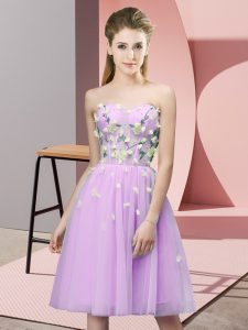Decent Appliques Quinceanera Court of Honor Dress Lilac Lace Up Sleeveless Knee Length