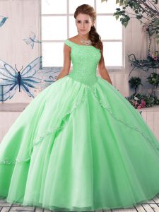 Off The Shoulder Sleeveless Brush Train Lace Up Quinceanera Dresses Apple Green Tulle