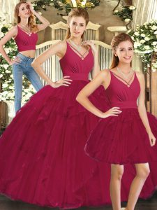 Floor Length Lace Up Quinceanera Dress Red for Sweet 16 and Quinceanera with Ruffles