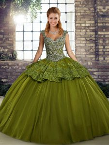 Popular Ball Gowns 15 Quinceanera Dress Olive Green Straps Tulle Sleeveless Floor Length Lace Up