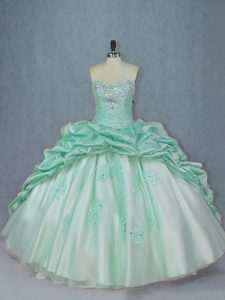 Apple Green Organza and Taffeta Lace Up Sweetheart Sleeveless Sweet 16 Dress Brush Train Beading and Pick Ups