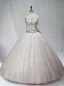 Customized Beading Quinceanera Dresses White Lace Up Sleeveless Floor Length