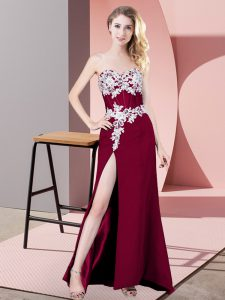 Fuchsia Sweetheart Zipper Lace and Appliques Evening Gowns Sleeveless