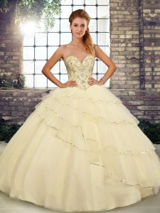 Light Yellow Sleeveless Brush Train Beading and Ruffled Layers Sweet 16 Dress