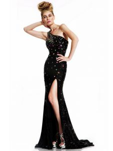 Excellent One Shoulder Sleeveless Brush Train Backless Evening Dress Black