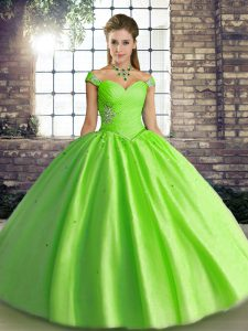 Modest Floor Length Quinceanera Dresses Tulle Sleeveless Beading