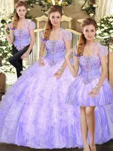 Strapless Sleeveless Lace Up Quinceanera Gowns Lavender Tulle