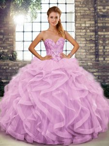 Spectacular Floor Length Lilac Sweet 16 Dress Tulle Sleeveless Beading and Ruffles
