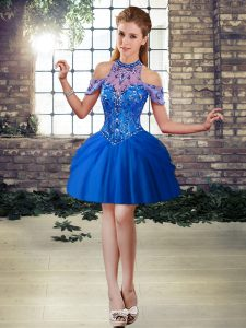 Noble Mini Length Royal Blue Prom Dresses Halter Top Sleeveless Lace Up