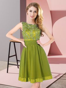 Scoop Sleeveless Chiffon Damas Dress Beading and Appliques Backless