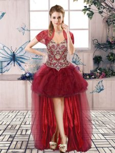 Perfect Burgundy Prom Gown Prom and Party with Beading and Ruffles Off The Shoulder Sleeveless Lace Up