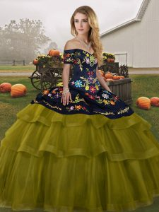 Modern Olive Green Ball Gowns Embroidery and Ruffled Layers Quinceanera Dresses Lace Up Tulle Sleeveless