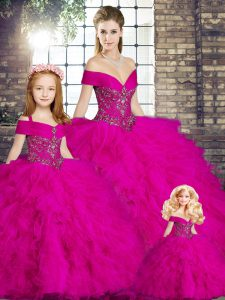 Nice Floor Length Ball Gowns Sleeveless Fuchsia Quinceanera Gown Lace Up