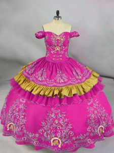 Fuchsia Ball Gowns Off The Shoulder Sleeveless Satin Floor Length Side Zipper Embroidery Ball Gown Prom Dress