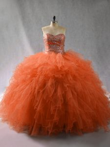 Orange Red Sleeveless Floor Length Beading and Ruffles Lace Up Quinceanera Dresses
