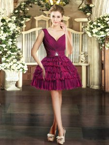 Super V-neck Sleeveless Hoco Dress Mini Length Beading and Ruffled Layers Burgundy Organza