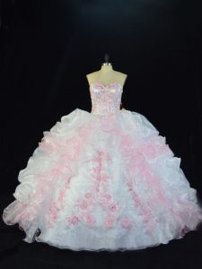 Classical Sleeveless Organza Floor Length Lace Up 15 Quinceanera Dress in Pink And White with Beading and Pick Ups