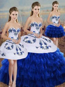 Flirting Royal Blue Lace Up Sweetheart Embroidery and Ruffled Layers and Bowknot Quinceanera Gown Organza Sleeveless