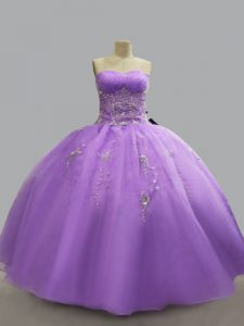 Chic Lavender Lace Up Quince Ball Gowns Beading Sleeveless Floor Length
