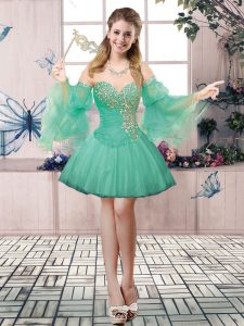 Amazing Mini Length Ball Gowns Sleeveless Apple Green Prom Evening Gown Lace Up