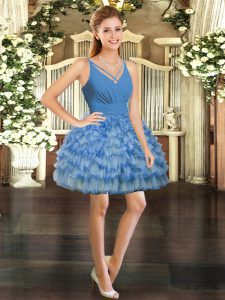 V-neck Sleeveless Organza Celebrity Dress Ruffled Layers Backless