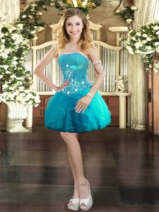 Most Popular Aqua Blue Ball Gowns Tulle Strapless Sleeveless Beading and Ruffles Mini Length Lace Up Evening Dress