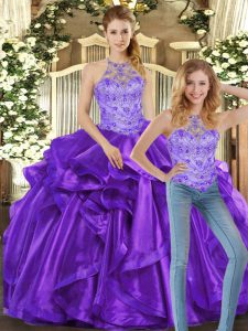Stylish Purple Organza Lace Up Quince Ball Gowns Sleeveless Floor Length Beading and Ruffles