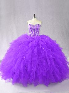 Designer Floor Length Ball Gowns Sleeveless Purple 15th Birthday Dress Lace Up