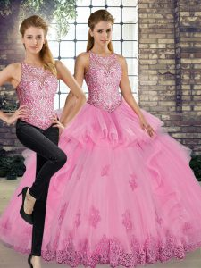 Rose Pink Sleeveless Lace and Embroidery and Ruffles Floor Length Quince Ball Gowns