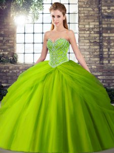 Sleeveless Tulle Brush Train Lace Up Quinceanera Dress for Military Ball and Sweet 16 and Quinceanera