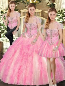 Baby Pink Tulle Lace Up Strapless Sleeveless Floor Length Vestidos de Quinceanera Beading and Ruffles