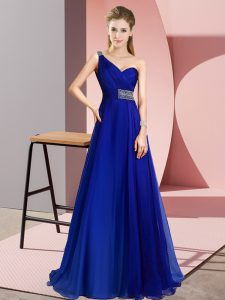Suitable One Shoulder Sleeveless Chiffon Prom Party Dress Beading Brush Train Criss Cross