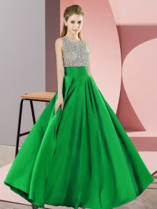 Modest Beading Homecoming Dress Green Backless Sleeveless Floor Length