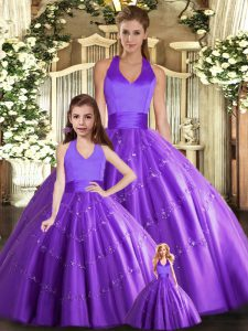 Superior Tulle Halter Top Sleeveless Lace Up Beading Quinceanera Dress in Purple