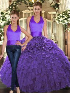 Dynamic Sleeveless Floor Length Ruffles Lace Up Quince Ball Gowns with Purple