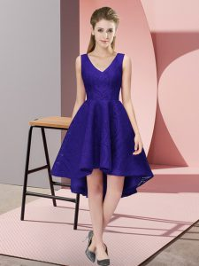 High End High Low Purple Bridesmaid Gown Lace Sleeveless Lace