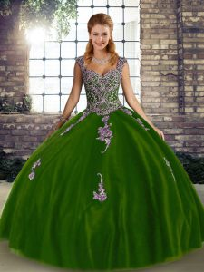 Discount Olive Green Sleeveless Floor Length Beading and Appliques Lace Up Quince Ball Gowns