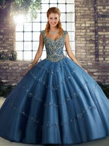 New Style Floor Length Blue Quinceanera Gowns Straps Sleeveless Lace Up