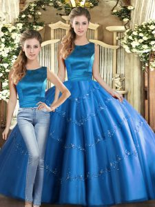 Floor Length Two Pieces Sleeveless Blue Vestidos de Quinceanera Lace Up