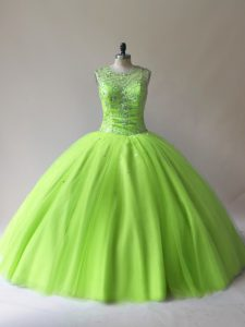 Sleeveless Floor Length Beading Lace Up Quince Ball Gowns