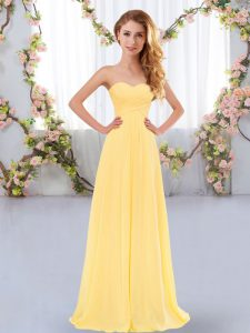 Flare Chiffon Sleeveless Floor Length Damas Dress and Ruching