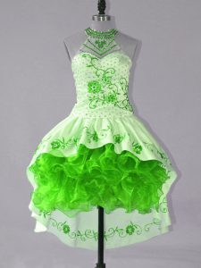Shining Green Ball Gowns Embroidery and Ruffles Dress for Prom Lace Up Satin and Organza Sleeveless High Low